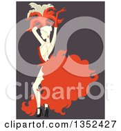 Clipart Of A Retro Cabaret Performer Dancing Over Purple Royalty Free Vector Illustration