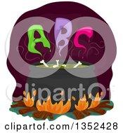 Clipart Of A Boiling Witch Cauldron With Bones And ABC Smoke Royalty Free Vector Illustration