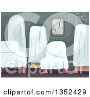 Clipart Of Furniture Covered With White Sheets In An Abandoned Home Royalty Free Vector Illustration