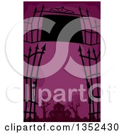 Clipart Of A Wrought Iron Gate And Sign Framing A Haunted House Over Purple Royalty Free Vector Illustration