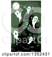Clipart Of A Haunted Pirate Ships With Ghosts And Green Lighting Royalty Free Vector Illustration by BNP Design Studio
