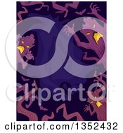 Clipart Of A Border Of Scary Tree Ents Over Purple Royalty Free Vector Illustration by BNP Design Studio