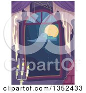Clipart Of A Window Looking Out At A Full Moon With Covwebs And A Candleabra Royalty Free Vector Illustration