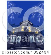 Clipart Of A Low Angle View Of A Haunted House And Lightning Royalty Free Vector Illustration