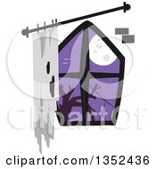 Clipart Of A Creepy Window With A Full Moon Royalty Free Vector Illustration by BNP Design Studio