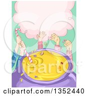 Clipart Of Sketched Childrens Hands Mixing Candies In A Cauldron Royalty Free Vector Illustration