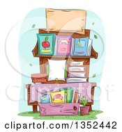 Clipart Of A Stand Of Books For Sale Royalty Free Vector Illustration by BNP Design Studio
