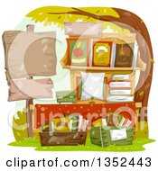 Clipart Of A Stand Of Books For Sale With A Blank Sign Royalty Free Vector Illustration