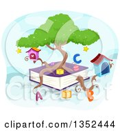 Clipart Of A Tree Growing From A Giant Book Royalty Free Vector Illustration