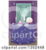 Clipart Of A Fortune Tellers Table Royalty Free Vector Illustration