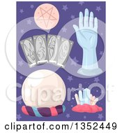 Clipart Of Fortune Telling Items Over Purple Stars Royalty Free Vector Illustration by BNP Design Studio