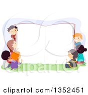 Clipart Of A Group Of Children Around A Giant Open Book Royalty Free Vector Illustration