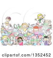 Clipart Of A Doodled Group Of Kids In A Pile Of Books Royalty Free Vector Illustration