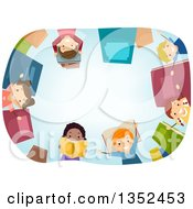 Clipart Of A Frame Of Children With Books Royalty Free Vector Illustration
