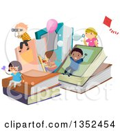 Clipart Of A Group Of Children Playing On Giant Books Royalty Free Vector Illustration