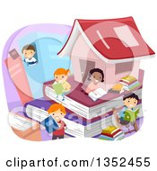 Clipart Of A Group Of Children In A Book City Royalty Free Vector Illustration