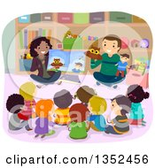 Clipart Of Teachers Reading A Book With Puppets And Students Listening Royalty Free Vector Illustration by BNP Design Studio