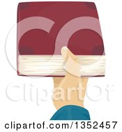 Clipart Of A Mans Hand Holding Out A Book Royalty Free Vector Illustration