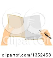 Clipart Of A Hand Signing A Book Royalty Free Vector Illustration by BNP Design Studio