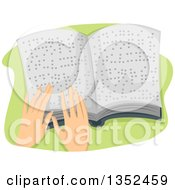 Hands Reading A Braille Book
