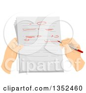 Clipart Of Hands Correcting And Proof Reading A Document Royalty Free Vector Illustration by BNP Design Studio