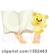 Clipart Of Hands With A Teddy Bear Sock Puppet And An Open Book Royalty Free Vector Illustration by BNP Design Studio