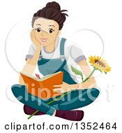 Happy Brunette Caucasian Teenage Girl Sitting On The Flower With A Sunflower Reading A Book