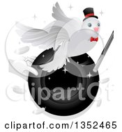 Clipart Of A Magician Holding A Hat And Wand With A Dove Royalty Free Vector Illustration