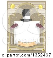 Clipart Of A Magicians Hat And Gloves Holding A Blank Sign In A Frame Royalty Free Vector Illustration