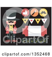 Clipart Of A Magician And Design Elements On Black Royalty Free Vector Illustration