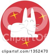 Clipart Of A Round Red Magicians Rabbit Icon Royalty Free Vector Illustration