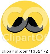 Clipart Of A Round Yellow Mustache Icon Royalty Free Vector Illustration