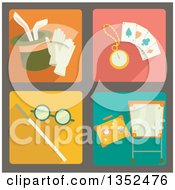 Clipart Of Square Magic Trick Icons Royalty Free Vector Illustration by BNP Design Studio