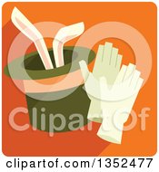 Clipart Of A Square Orange Magic Trick Icon With A Rabbit In A Hat Royalty Free Vector Illustration