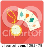 Clipart Of A Square Magic Card Trick Icon With A Stopwatch Royalty Free Vector Illustration