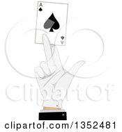 Clipart Of A Magicians Hand Holding An Ace Of Spades Playing Card Royalty Free Vector Illustration