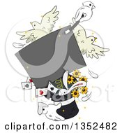 Magician Hands Performing A Trick With A Sign Doves Rabbit Cards And Flowers