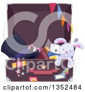 Clipart Of A Trunk Full Of Magic Props Royalty Free Vector Illustration by BNP Design Studio