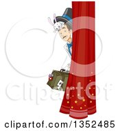 Male Magician Peeking Around A Curtain With A Bunny Under His Hat