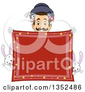 Clipart Of A Male Magician Smiling Over A Red Handkerchief With Rabbits Royalty Free Vector Illustration by BNP Design Studio