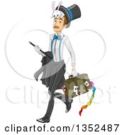 Clipart Of A Male Magician Walking With His Gear Royalty Free Vector Illustration