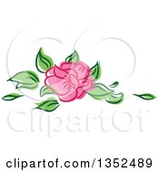 Clipart Of A Sketched Pink Rose And Leaves Royalty Free Vector Illustration