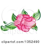 Clipart Of A Sketched Pink Rose And Leaves Royalty Free Vector Illustration by BNP Design Studio