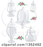 Clipart Of Sketched Pink Roses And Glass Apothecary Jars Royalty Free Vector Illustration