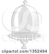 Clipart Of A Sketched Glass Apothecary Jar Dome Royalty Free Vector Illustration