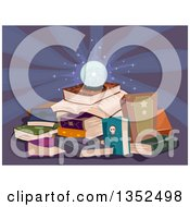 Glowing Crystal Ball On A Pile Of Magic Books
