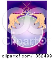 Clipart Of A Fortune Teller Rubbing Her Hands On A Crystal Ball Royalty Free Vector Illustration by BNP Design Studio