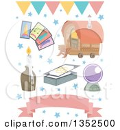 Clipart Of A Gypsy Romani Wagon Tarot Cards Crystal Ball Candle And Banners Royalty Free Vector Illustration by BNP Design Studio