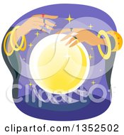 Clipart Of A Gypsy Fortune Teller And A Crystal Ball Royalty Free Vector Illustration
