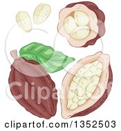 Clipart Of Sketched Cocoa Beans Royalty Free Vector Illustration by BNP Design Studio